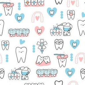 White Dentist and Orthodontics medicine fabric pattern with invisible braces, water floss irrigation, toothbrush. Oral hygiene design.