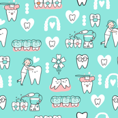 Mint Dentist and Orthodontics medicine fabric pattern with invisible braces, water floss irrigation, toothbrush. Oral hygiene design.