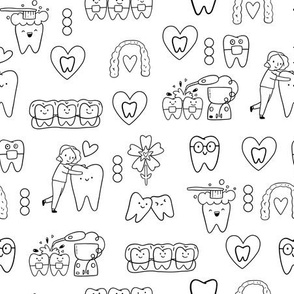 Dentist orthodontics pattern design with invisible braces, water floss irrigator, toothbrush, teeth