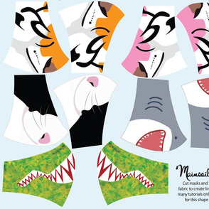 Cotton Sateen KIDS animal face masks