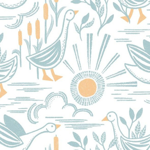 East Fork Sunshine Geese Large Scale - Linocut Inspired