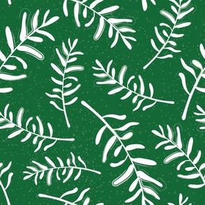 Forest green and white pattern with olive branches