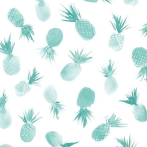 Soft teal watercolor pineapples for sweet summer