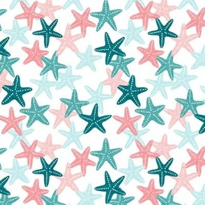 (small scale) Starfish - teal - summer beach nautical - C20BS