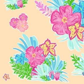 paradise floral tropics - LG 105 peach