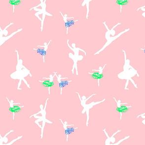 Dancing Ballerinas #1 - White on ballet pink