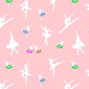 Dancing Ballerinas #2 - White on ballet pink