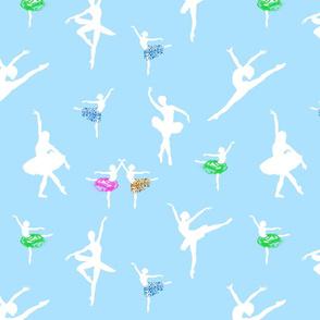 Dancing Ballerinas #2 - White on swan lake blue