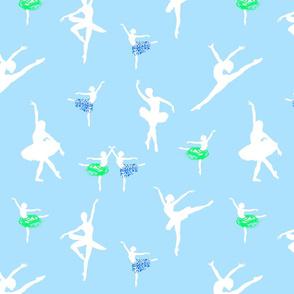 Dancing Ballerinas #1 - White on swan lake blue