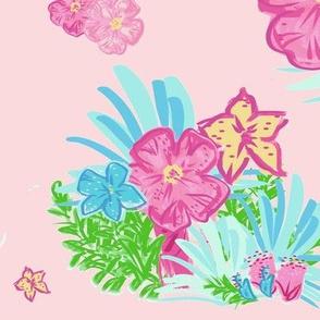 paradise floral tropics light pink - XL 14