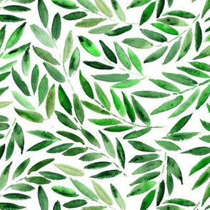 Japanese leaves - watercolor nature greenery for modern home decor, bedding, nursery