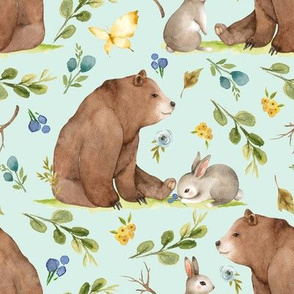 Woodland Bear & Bunny Friends (soft mint) Blue & Yellow Flowers, LARGE scale