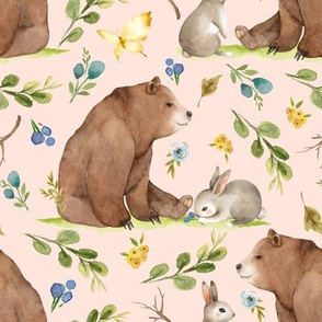 Woodland Bear & Bunny Friends (baby pink) Blue & Yellow Flowers, LARGE scale