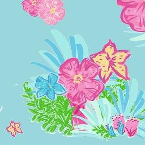 paradise floral tropics seafoam - XL 14
