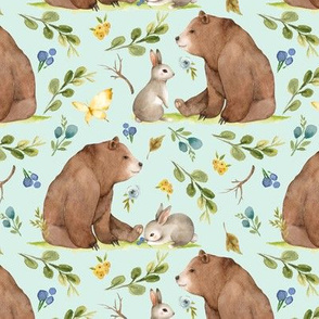 Woodland Bear & Bunny Friends (soft mint) Blue & Yellow Flowers, MEDIUM scale