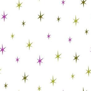 Stars green and purple