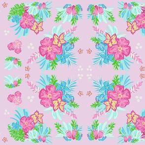 paradise mirror floral Polka tropics lilac  - LARGE 105
