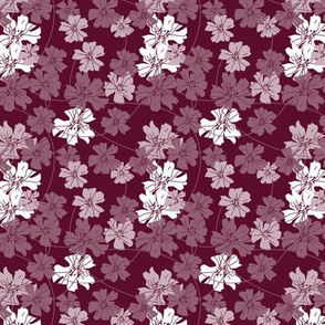 floral dark red - small scale