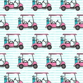 (small scale) golf carts - pink on teal stripes - LAD20