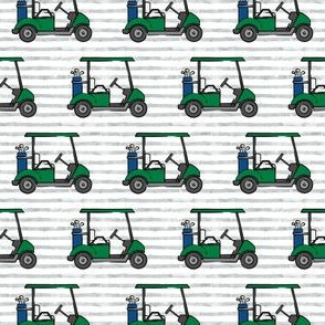 (small scale) golf carts - green on grey stripes - LAD20