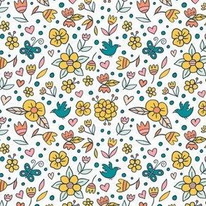 Cute doodle yellow flowers
