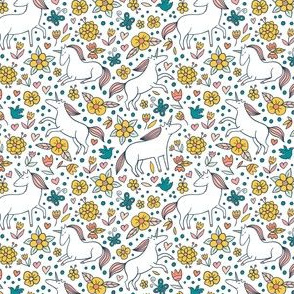 Floral Pattern With Unicorns