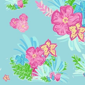paradise floral tropics seafoam - LARGE 105
