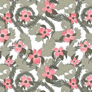 Acanthus - dogwood Victorian Floral Pattern