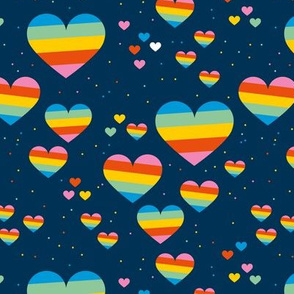 Rainbow love planets hearts confetti pride gay universe on navy blue