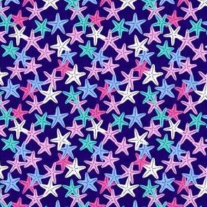 (micro scale) Starfish - dark blue - summer beach nautical - C20BS