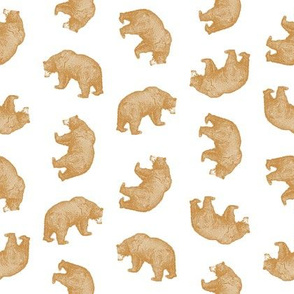 Antique Bears in Gold with White Background