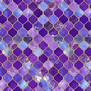 Dark Purple and Gold Decorative Moroccan Tiles Tiny Print