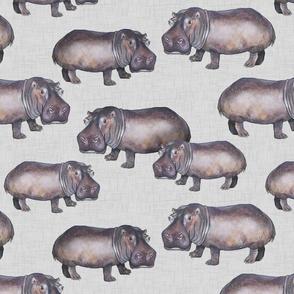 Hippos on Linen
