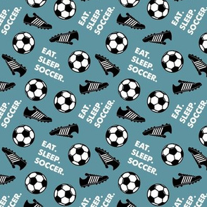 (small scale) Eat Sleep Soccer - Soccer ball and cleats - slate  - C20BS