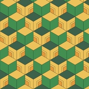 MINI Demon-Slaying Giyu Sabito Green, Yellow, Orange Geometric Hexagon Boxes