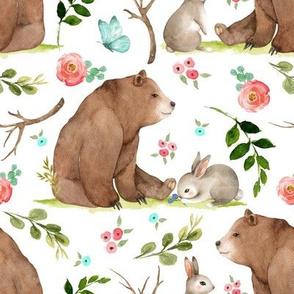 Girls Woodland Bear & Bunny Friends (white) Pink + Aqua Flowers, LARGE scale