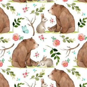 Girls Woodland Bear & Bunny Friends (white) Pink + Aqua Flowers, MEDIUM scale