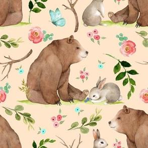 Girls Woodland Bear & Bunny Friends (apricot) Pink + Aqua Flowers, LARGE scale