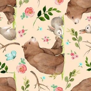 Girls Woodland Bear & Bunny Friends (apricot) Pink + Aqua Flowers, LARGE scale, ROTATED