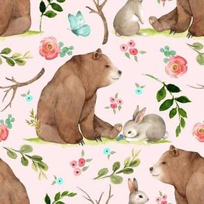 Girls Woodland Bear & Bunny Friends (shell pink) Pink + Aqua Flowers, LARGE scale