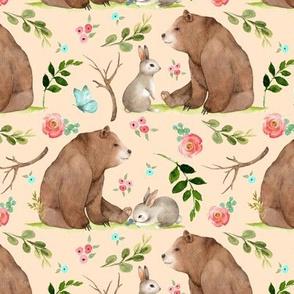 Girls Woodland Bear & Bunny Friends (apricot) Pink + Aqua Flowers, MEDIUM scale