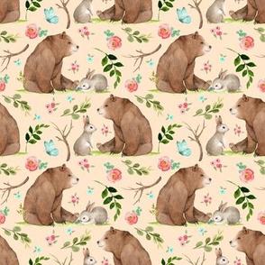 Girls Woodland Bear & Bunny Friends (apricot) Pink + Aqua Flowers, SMALL scale