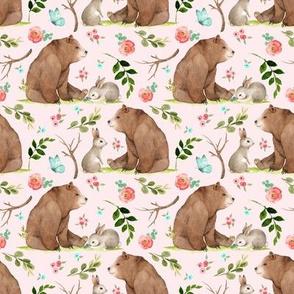 Girls Woodland Bear & Bunny Friends (shell pink) Pink + Aqua Flowers, SMALL scale