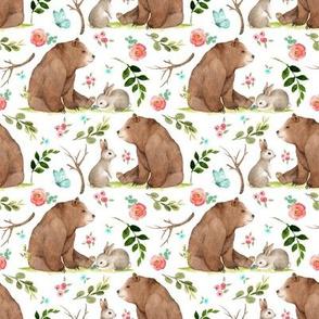 Girls Woodland Bear & Bunny Friends (white) Pink + Aqua Flowers, SMALL scale