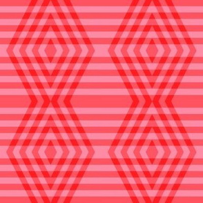 JP37 - Medium - Buffalo Plaid Diamonds on Stripes in Scarlet Red and Pink