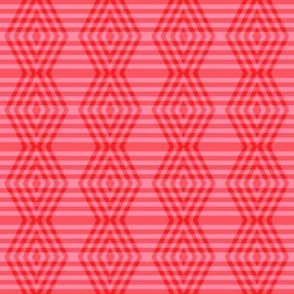 JP37 - Small - Buffalo Plaid Diamonds on Stripes in Scarlet Red and Pink