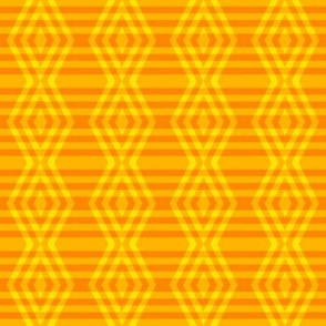 JP36  -Small -  Buffalo Plaid Diamonds on Stripes in Lemon Yellow and Orange