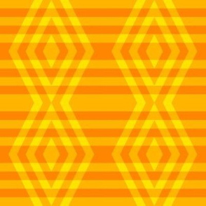 JP36  - Medium - Buffalo Plaid Diamonds on Stripes in Lemon Yellow and Orange