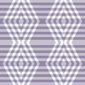 JP35  - Medium - Buffalo Plaid Diamonds on Stripes in Neutralized Violet Monochrome