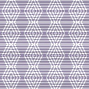 JP35  - Small -  Buffalo Plaid Diamonds on Stripes in Neutralized Violet Monochrome